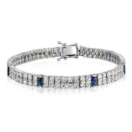 - White And Blue CZ 2 Row Tennis Bracelet For Women Simulated Sapphire Baguette Cubic Zirconia Rhodium Plated Brass 7.5 In