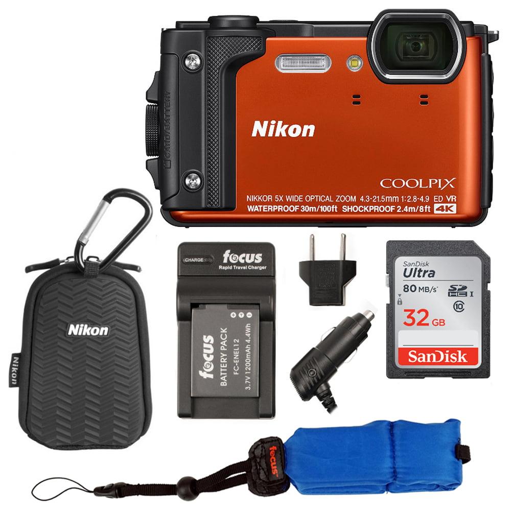 Nikon Coolpix W300 Waterproof Digital Camera (Orange) with Sport Case Bundle