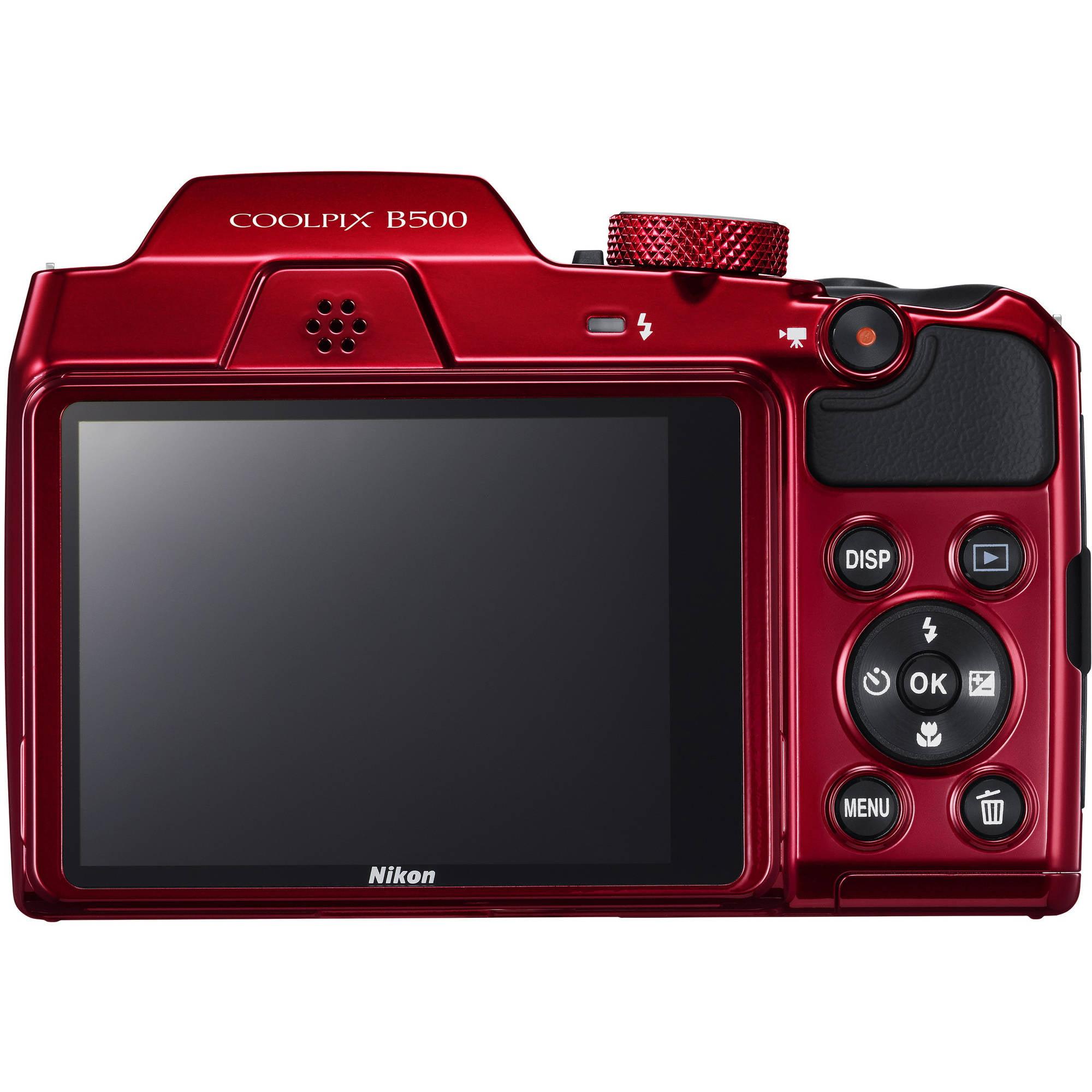 Nikon Red COOLPIX B500 Digital Camera with 16 Megapixels and 40x ...