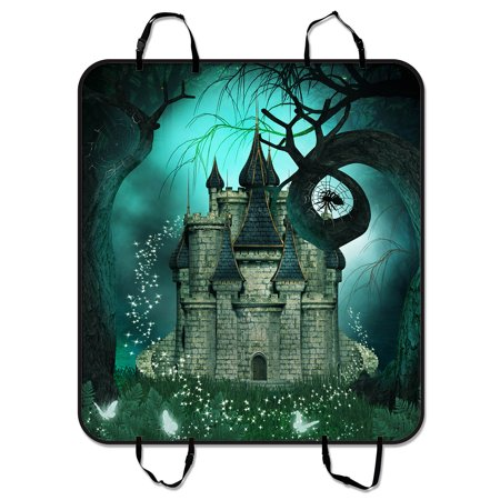 YKCG Magic Fantasy Castle Halloween Night Mystic trees Pet Seat Cover Car Seat Cover for Pets Cargo Mats and Hammocks for Cars Trucks and SUVs 54x60 (It's Halloween Night Cars)