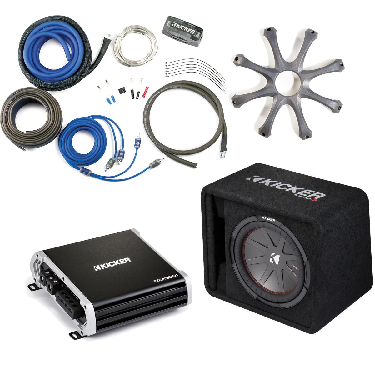 Kicker 43VCWR122 Comp R ported enclosure w/  500 Watt Kicker DXA5001 Amplifier, wiring kit, grille, and bass knob.