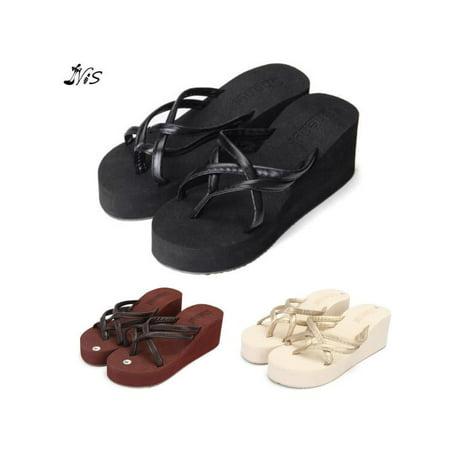 7839ae342 Meigar - Meigar Womens Thong Strap Flip Flops High Heel Slippers Platform  Summer - Walmart.com