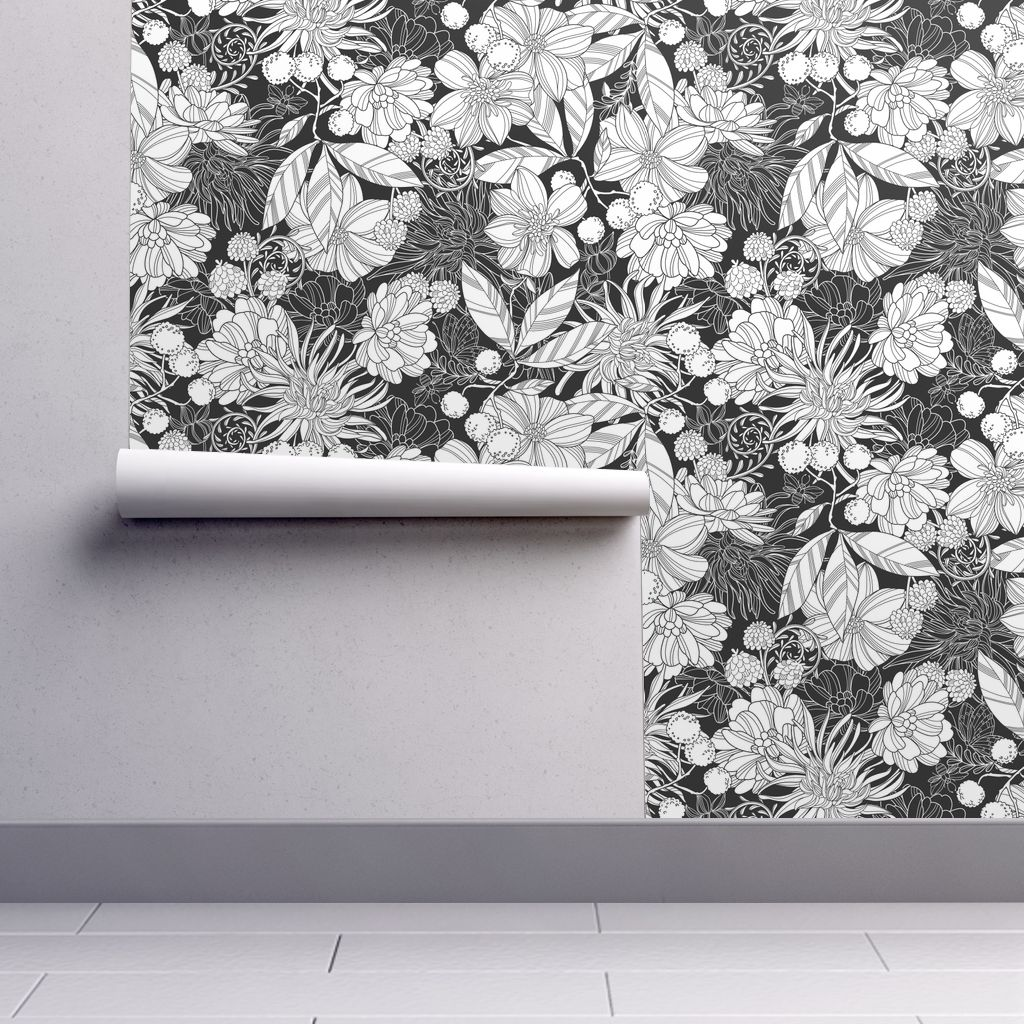 Wallpaper Roll or Sample: Floral Flower Coloring Book Black And White