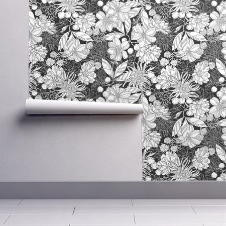Peel And Stick Removable Wallpaper Floral Floral Botanical Black White Floral