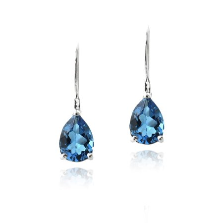 Silver London Blue Topaz Teardrop Leverback - Citrine Teardrop Earrings
