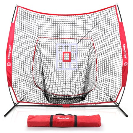 Morpilot 7x7 Baseball & Softball Hitting, Pitching, Batting and Catching Net, With Carry Bag, Strike Zone Target, 3 Weighted Balls