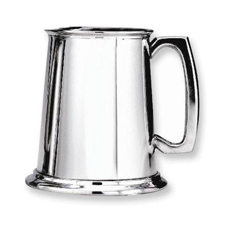Pewter Polished Finish Glass Bottom 16oz