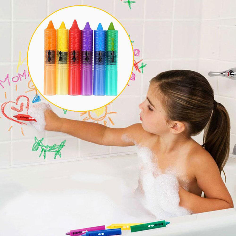 6PC Baby Toddler Kids Washable Bath Crayons Bathtime Play Child Educational Toys