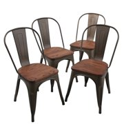 Andeworld Indoor Outdoor Patio Dining Chairs Metal Chairs Dining Room Chairs(Pack of 4) Rusty by Andeworld