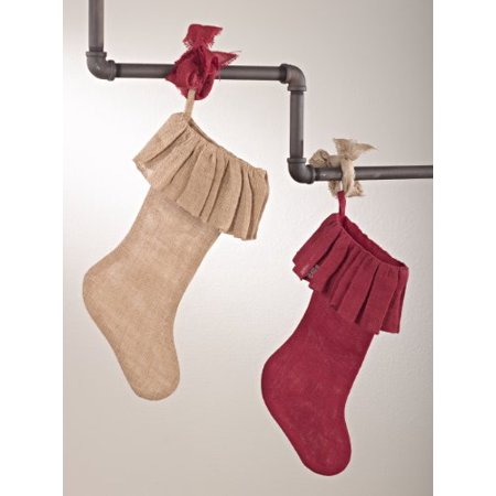 Ruffle Burlap Festive Holiday Christmas Stocking (red)
