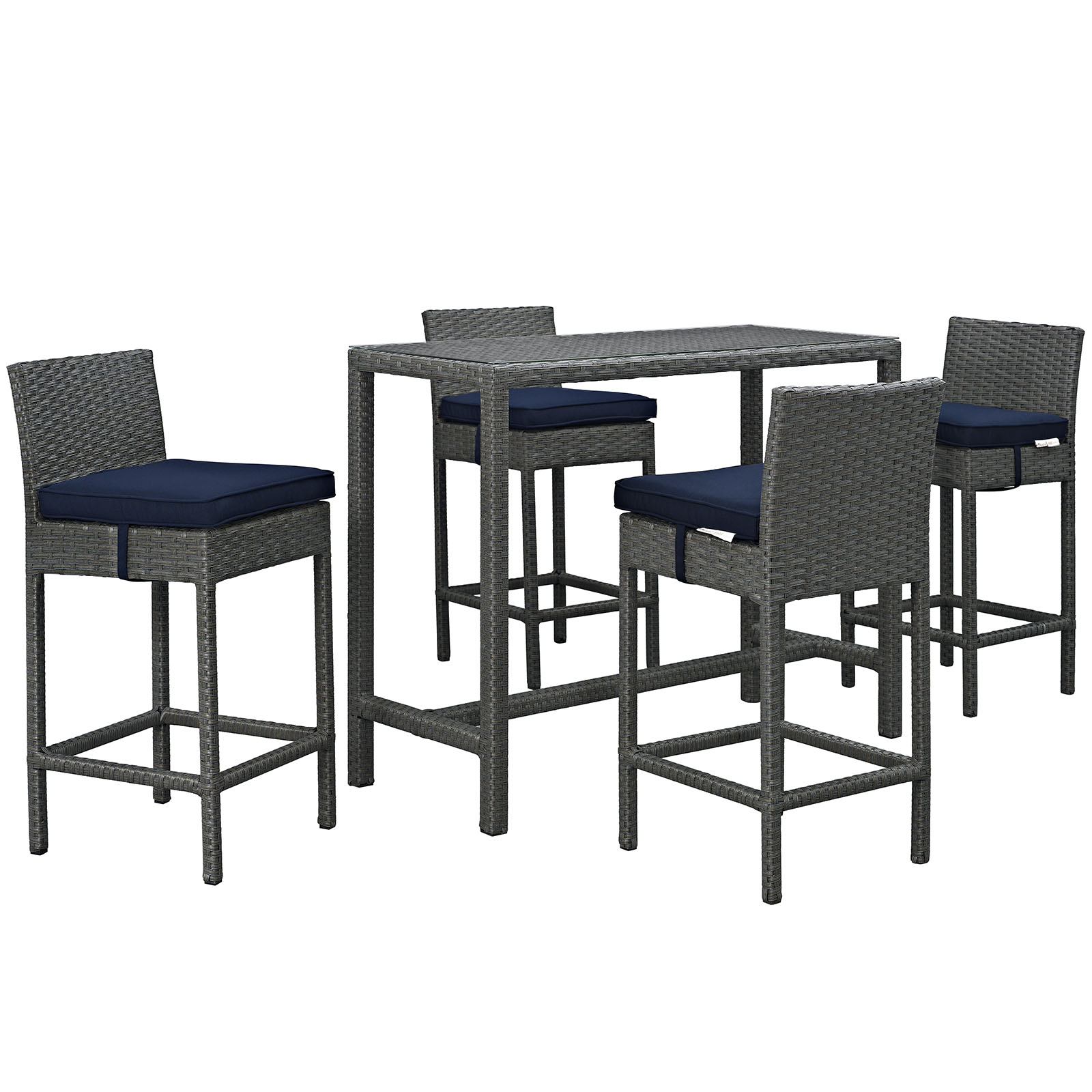 Modway Sojourn 5 Piece Bar Height Dining Set with Cushion