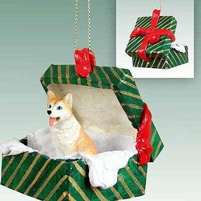 Husky Green Gift Box Dog Ornament - Red & White Dog Green Gift Box