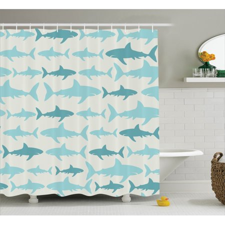 Sea Animals Decor  Monochrome Shark Illustration Fashion Maritime Illustration Aquatics Print  Bathroom Accessories  69W X 84L Inches Extra Long  By Ambesonne