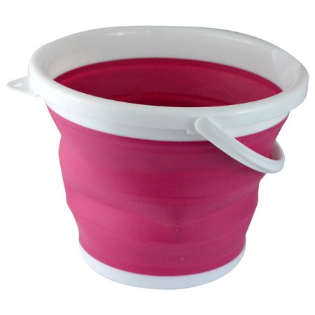 Foldable Silicone Collapsible 2.65 Gallon Bucket, Pink](Pink Bucket)