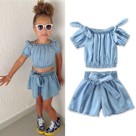2Pcs Toddler Baby Girls Off Shoulder Crop Top Short Pants Clothes Outfits Summer - Summer Short Outfits