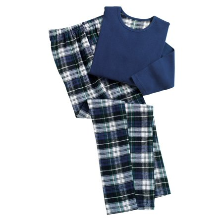 Plaid Flannel Pajama Top - Women's Cozy Country Plaid Flannel Pajamas, Large, Navy