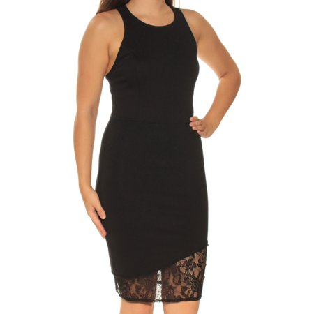 Knex Racers (BAR III Womens Black Lace Racerback Sleeveless Jewel Neck Knee Length Body Con Dress  Size: S )
