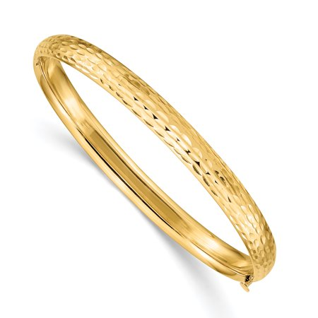 14k Yellow Gold Kids Hammered 5mm Hinged Baby Bangle Bracelet Cuff Expandable Stackable Gifts For Women For Her