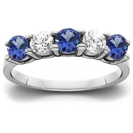 1.00Ct Genuine Blue Sapphire & Natural Diamond 5-Stone Ring 14K White Gold - image 2 de 2