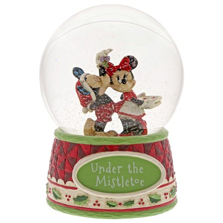 Enesco Disney Traditions Mickey and Minnie Mouse Under the Mistletoe, Multicolor