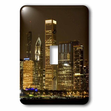 3dRose Chicago skyline at night, Illinois - US14 DFR0127 - David R. Frazier, Single Toggle Switch