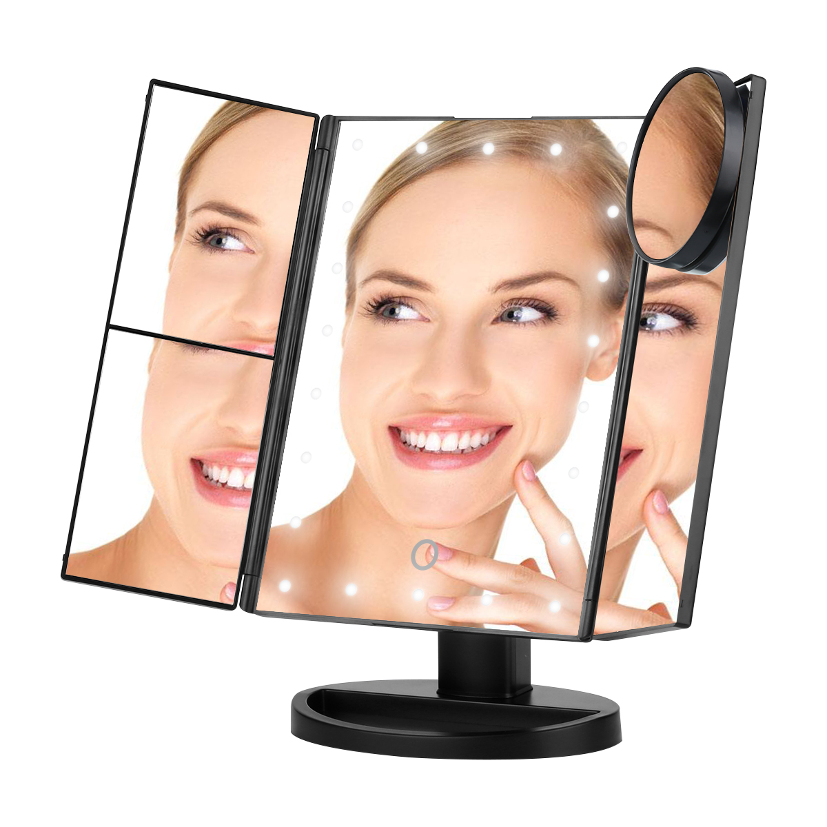 LED Cosmetic Makeup Mirror Trifold 22 LED Lighted with Touch Screen, 2x, 3x and 10x Magnifying Spot, Adjustable Stand for Countertop Bathroom