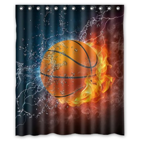 Ganma Sport Basketball Between Frozen And Flame Shower Curtain Polyester Fabric Bathroom Shower Curtain 60x72 inches - Frozen Basket