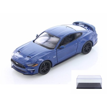 Diecast Car & Display Case Package - 2018 Ford Mustang GT Hard Top, BLue - Showcasts 79352/16D - 1/24 Scale Diecast Model Toy Car w/Display Case