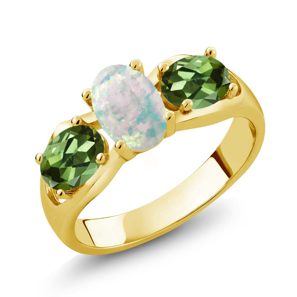1.63 Ct Oval Cabochon White Simulated Opal Green Tourmaline 18K Yellow Gold Ring by