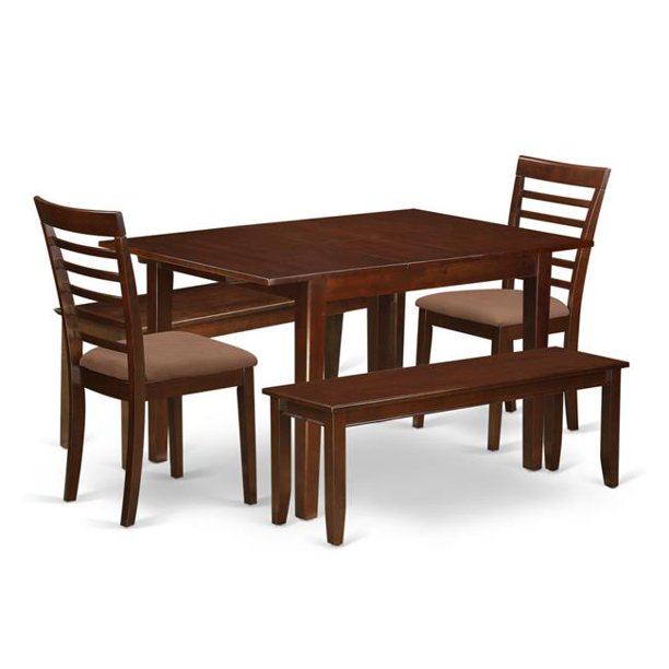 Dinette Set Small Dining Tables 2 Dining Chairs 2 Benches 44 5 Piece Mahogany Walmart Com Walmart Com