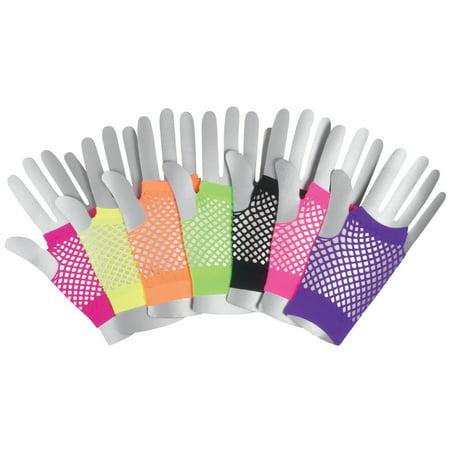 Veil Entertainment Fingerless Rave Neon 2pc Fishnet Gloves, One-Size - Rave Glove Tricks
