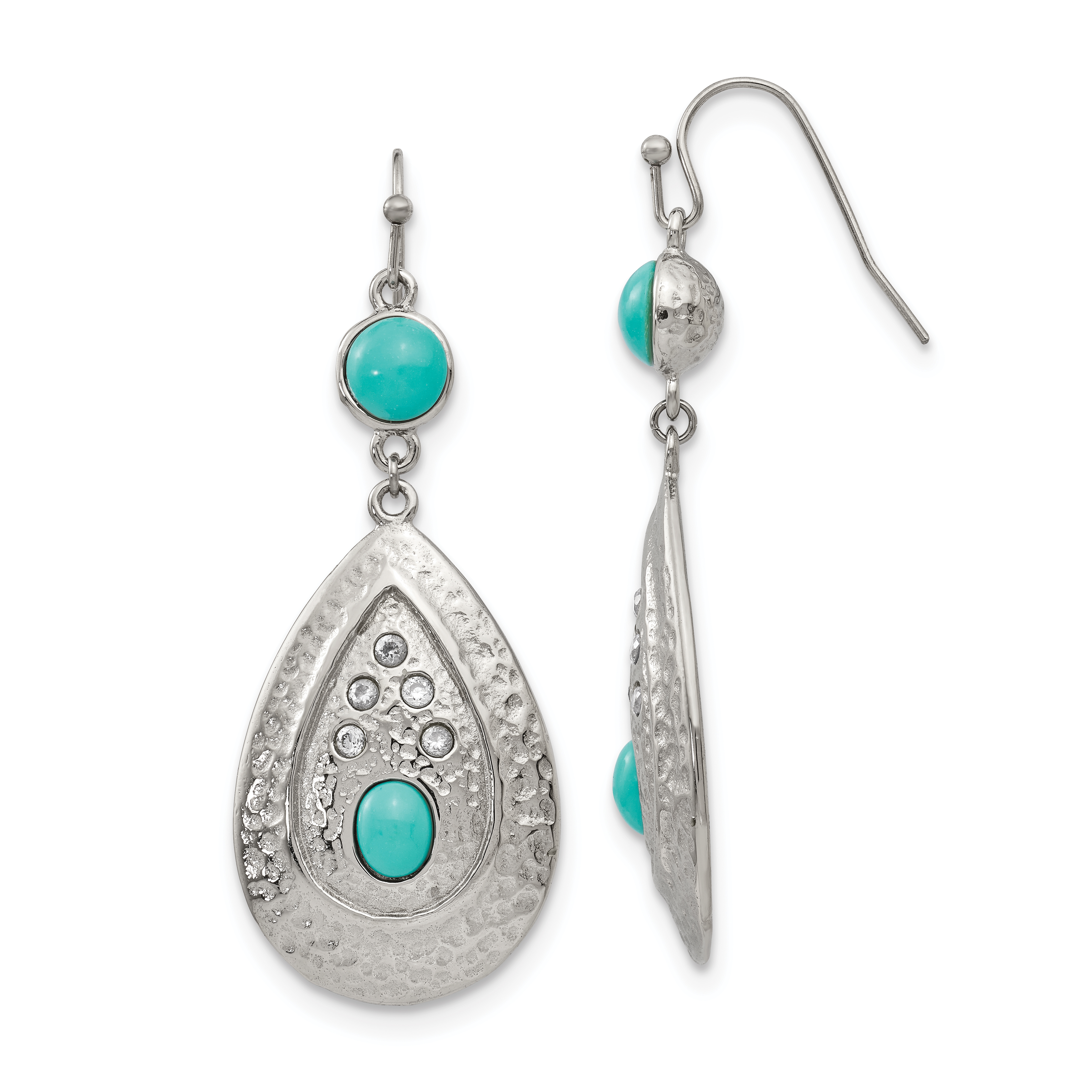Stainless Steel Polished/Hammered Imitation Turquoise/CZ Earrings - image 4 of 4