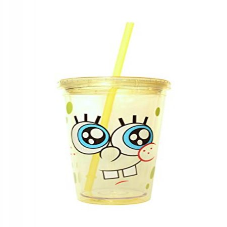 Silver Buffalo SG55087 Nickelodeon SpongeBob Big Eyes Plastic Cold Cup with Lid and Straw, 16-Ounces (Spongebob Cup)