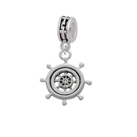 Antiqued Ship Wheel   Cross Charm Bead