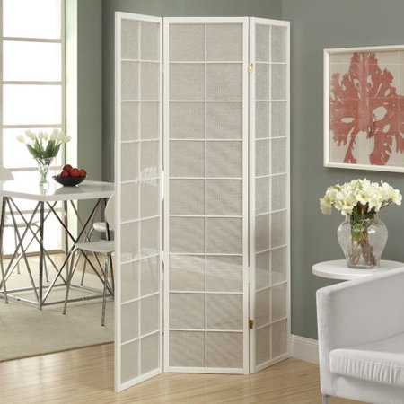 Folding Screen - 3 Panel / White Frame With Fabric Inlay Folding Frame Screen