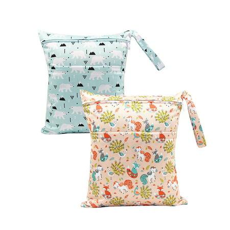 2pcs Baby Cloth Diaper Wet/Dry Bags Infant Waterproof Stroller Travel Zipper Snap Handing for Swimwear Bathing Suit (White Swimsuit Wet)