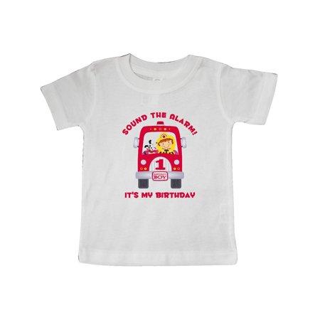 Fire Truck 1st Birthday Boy Baby T Shirt