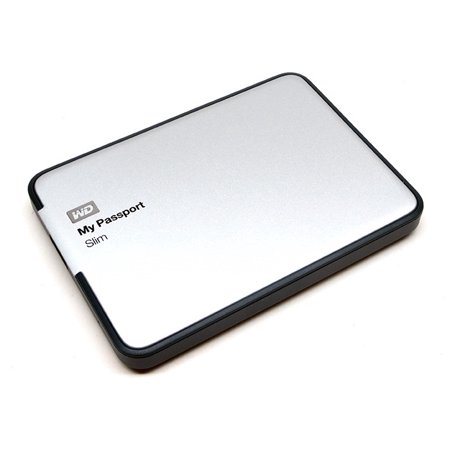 WD My Passport Slim 1TB External Hard Drive, Silver (New Open Box)