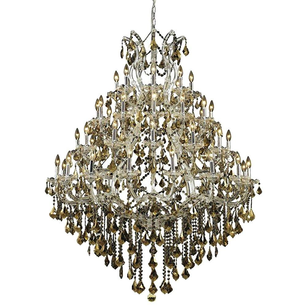 elegant lighting 2800g46c-gt/rc maria theresa 62-inch high 49-light chandelier, chrome finish with golden teak (smoky) royal cut rc crystal