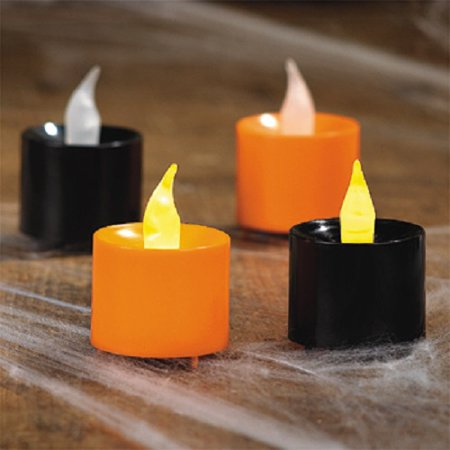 Plastic Orange and Black Battery Operated Votive Candles Halloween Party (12) (Halloween Party Sf)