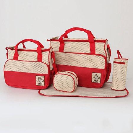 KABOER 5 Pcs/Set Mother Baby Changing Diaper Nappy Bag Mummy Handbag Multi-functional