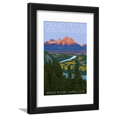 Grand Teton National Park - Snake River Overlook Travel Advertisement Mountain Landscape Framed Print Wall Art By Lantern Press (Grand Teton National Park Framed)