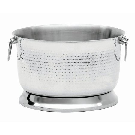 "Image of ""Stainless Steel Beverage Tub With Hammered Finish, Double Wall - 15""""Dia x 10""""H"""