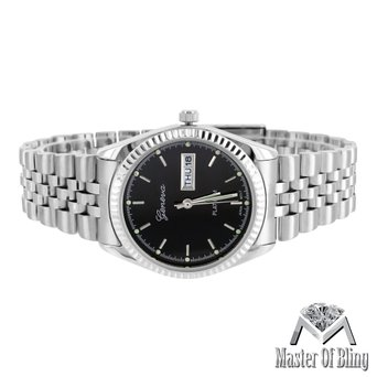 Presidential Style Ladies Watch Black Dial Geneva Platinum Steel Case Classy Hot
