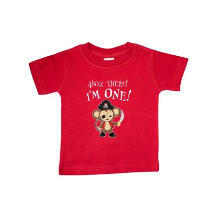 Ahoy, there! I'm One!- pirate monkey Baby T-Shirt - Baby Pirate Shirt