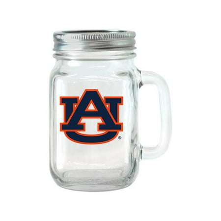 NCAA 16 oz Auburn Tigers Glass Jar with Lid and Handle,
