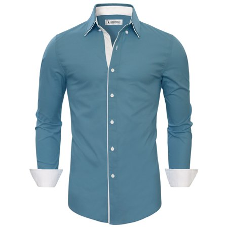 TAM WARE Mens Stylish Slim Fit Contrast Inner Long Sleeve Button Down