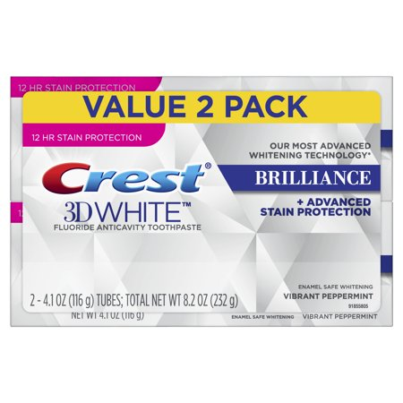 Crest 3D White Brilliance Vibrant Peppermint Toothpaste, 4.1 oz, Pack of