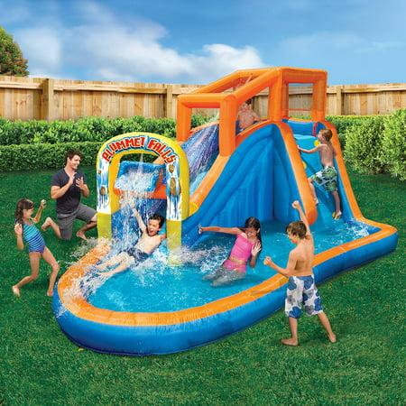 BANZAI Plummet Falls Large Inflatable Water Park Play Center - Water Slide, Drench Bucket & Climbing Wall - Outdoor Summer Fun For Kids & Families
