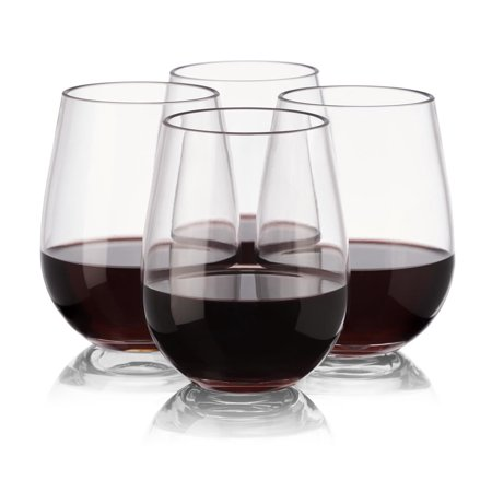 Plastic Wine Glasses - Set of 4 - Stemless - Unbreakable - Reusable - High Quality - Tritan Plastic - from NOTMOG